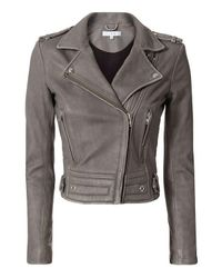 IRO | Gray Luiga Moto Leather Jacket | Lyst