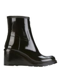 HUNTER | Black Original Refined Mid Wedge Glossy Rain Boots | Lyst