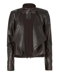 Exclusive For Intermix | Black Dalilah Leather Draped Jacket | Lyst