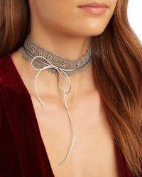 Fallon - Metallic Andalusia Scalloped Lace Choker - Lyst