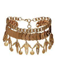 Elizabeth Cole   Metallic Fringe Collar Necklace   Lyst