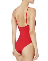 Onia - Arianna Half Zip Red One Piece Swimsuit - Lyst