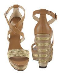 Jimmy Choo - Brown Portia Metallic Stripe Wedge Sandals - Lyst