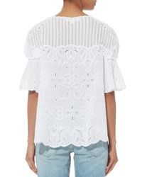 Jonathan Simkhai White Cutout Embroidery Top