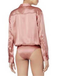 T By Alexander Wang - Pink Silk Shirt Bodysuit - Lyst