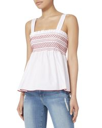 Exclusive For Intermix - White Dolly Smocked Tank - Lyst