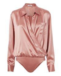 T By Alexander Wang   Pink Silk Shirt Bodysuit   Lyst