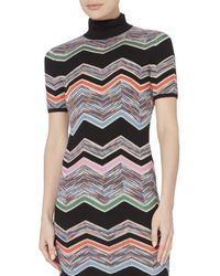 Missoni | Black Zig Zag Short Sleeved Turtleneck Dress | Lyst