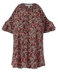10 Crosby Derek Lam Green Floral Cold-Shoulder Crepe Top