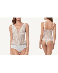 Intimissimi - White Satin Lace Bodysuit - Lyst