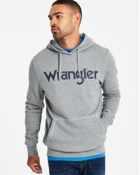 Wrangler - Gray Grey Melange Logo Hoody for Men - Lyst