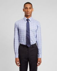 Jaeger - Blue Regular Patterned Check Shirt for Men - Lyst