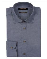 Jaeger   Blue Melange Herringbone Slim Shirt for Men   Lyst