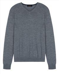 Jaeger | Gray Merino Wool V-neck Sweater for Men | Lyst