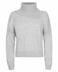 Jaeger - Gray Cashmere Cropped Split Cowl Neck Sweater - Lyst