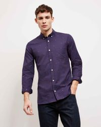 Jaeger - Blue Fil Coupe Palm Tree Shirt for Men - Lyst