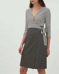 Jaeger - Black Contrast Stripe Wrap Dress - Lyst