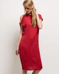 Jaeger | Red Off-the-shoulder Crepe Dress | Lyst