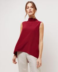 Jaeger | Red Silk Cowl Neck Top | Lyst