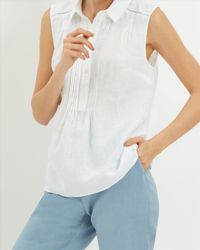 Jaeger - White Linen Pin Tuck Detail Blouse - Lyst