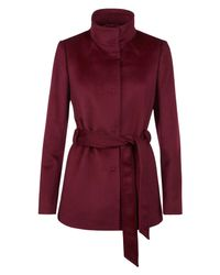 Jaeger - Red Wool Funnel Neck Coat - Lyst