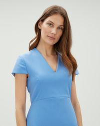 Jaeger - Blue Fitted Dress - Lyst