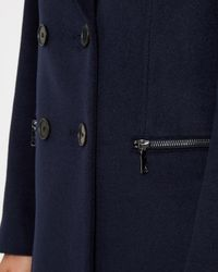 Jaeger - Blue Wool Double-breasted Zip Coat - Lyst
