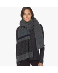 James Perse Gray Wool Blend Striped Scarf