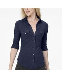 James Perse - Blue Sheer Slub Side Panel Shirt - Lyst
