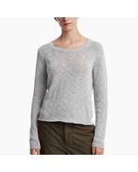 James Perse | Gray Cotton Linen Cropped Sweater | Lyst