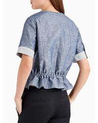 Jason Wu | Blue Short Sleeve Denim Double Face Top With Cinched Waist | Lyst