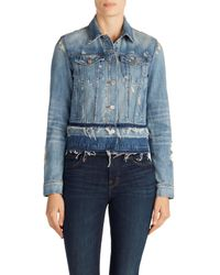J Brand Blue Deena Cropped Released Hem Denim Jacket