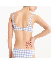 J.Crew - Blue Scoop Bikini Top In Oversized Matte Gingham - Lyst