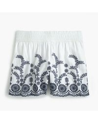 J.Crew - White Pull-on Short With Floral Embroidery - Lyst