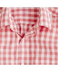 J.Crew | Red Secret Wash Lightweight Shirt In Van Buren Gingham for Men | Lyst