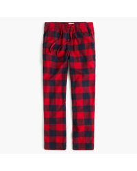 J.Crew - Black Flannel Pajama Pant In Buffalo Check for Men - Lyst