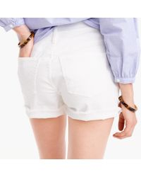 J.Crew - High-rise Denim Short In White - Lyst