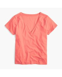 J.Crew - Pink V-neck T-shirt In Supima Cotton - Lyst