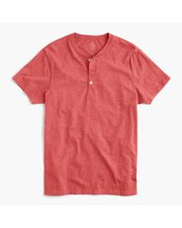 J.Crew | Red Slim Broken-in Short-sleeve Henley for Men | Lyst