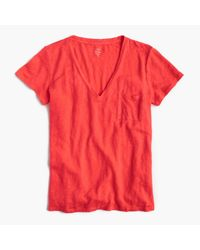 J.Crew | Pink Linen V-neck Pocket T-shirt | Lyst