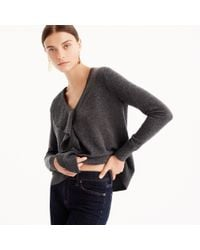 J.Crew - Gray Ruffle Sweater In Everyday Cashmere - Lyst