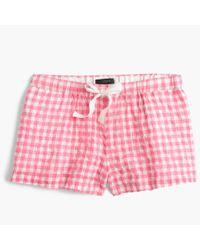 J.Crew | Pink Gingham Pajama Short | Lyst