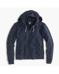 J.Crew | Blue Tall Brushed Fleece Zip Hoodie for Men | Lyst
