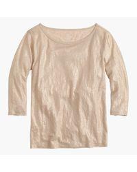 J.Crew | Linen Boatneck T-shirt In Metallic | Lyst