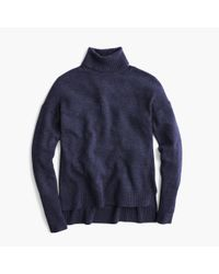 J.Crew - Blue Relaxed Wool Turtleneck Sweater With Rib Trim - Lyst