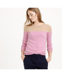J.Crew - Natural Italian Cashmere Long-sleeve T-shirt In Stripe - Lyst