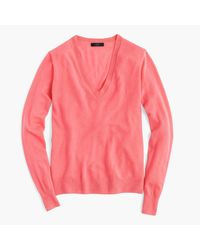 J.Crew | Pink Italian Featherweight Cashmere Classic V-neck Sweater | Lyst