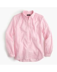 J.Crew | Pink Petite Gathered Popover Shirt In Microgingham | Lyst