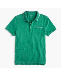 J.Crew | Green Tall Textured Cotton Tipped Polo Shirt for Men | Lyst