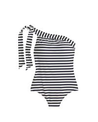 J.Crew | Blue One-shoulder One-piece Swimsuit In Classic Stripe | Lyst